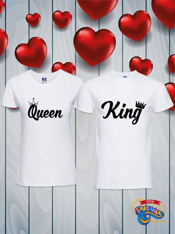 Coppia di t shirt magliette you and me personalizzabili con nome king e queen con corona