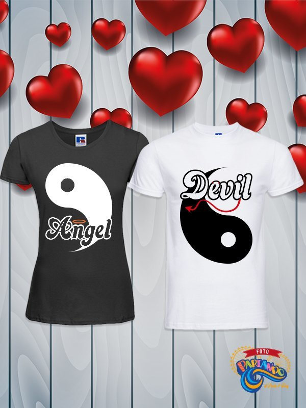 Coppia di t shirt magliette you and me Yin & Yang