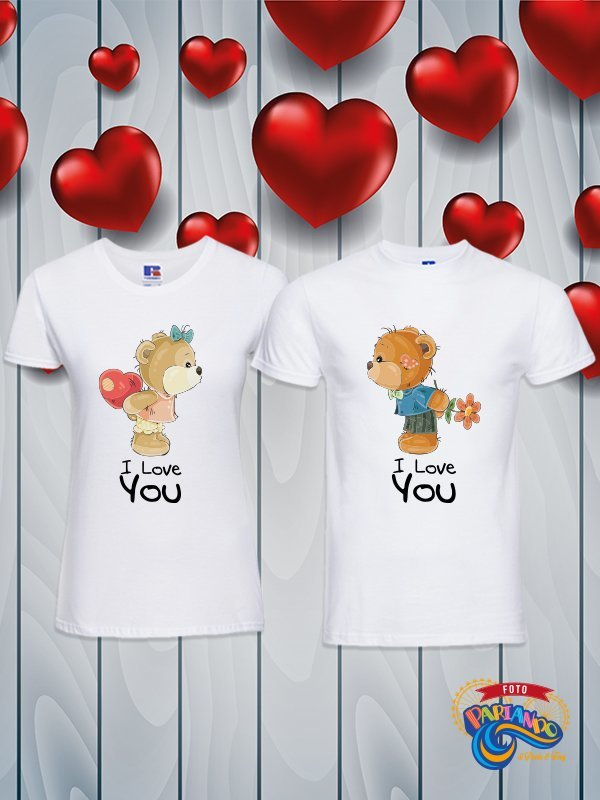 Coppia di t shirt magliette you and me i love you little bear