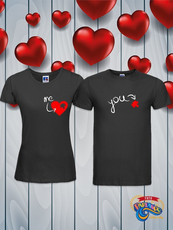 Coppia di t shirt magliette you and me you are my heart