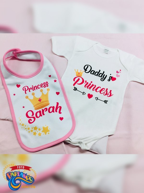 Set body bavetto neonato daddy's princess with crown personalizzato con nome