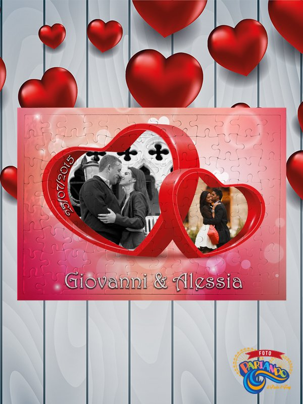 fb14c1920f Foto puzzle personalizzato con nomi data e foto two hearts with love ...