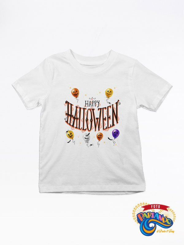 T shirt maglietta bambino happy halloween con palloncini terrificanti watercolor