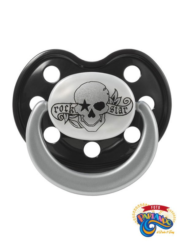Ciuccio Succhietto Rock Star Baby Tattoo Pirata Silicone