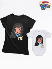Coppia di t shirt e body neonato mamma figli me - mini me pocahontas version