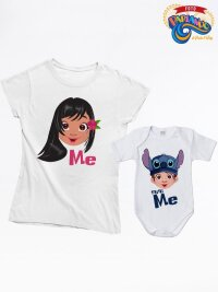 Coppia di t shirt e body neonato mamma figli me - mini me lilo and stitch
